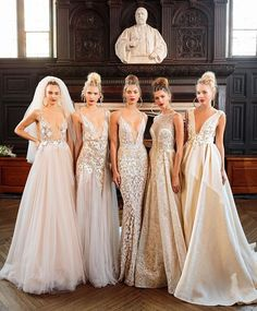 Now that's our kind of line up. Stunning new gowns straight from the Bridal Fashion Week runway. Now that's our kind of line up. Stunning new BERTA gowns straight from the Bridal Fashion Week runway. Bridal Dresses, Wedding Gowns, Bridesmaid Dresses, Prom Dresses, Formal Dresses, 2017 Wedding, Dream Wedding, Tule Wedding Dress, Wedding Wear