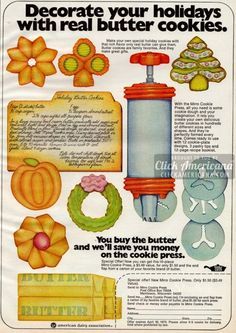 Holiday butter cookies & classic spritz cookie recipes - Click Americana - Holiday wreaths christmas,Holiday crafts for kids to make,Holiday cookies christmas, Retro Recipes, Old Recipes, Vintage Recipes, Spritz Cookies, Holiday Cookies, Brownie Cookies, Holiday Treats, Butter Cookies Recipe, Gourmet