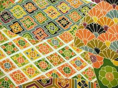 RARE Yuzen Geometric Floral Vintage Japanese by CosimaOrimono