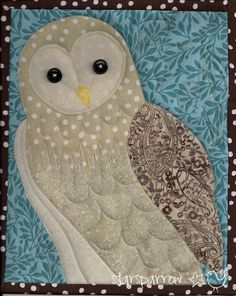 Image of Barn Owl Quilt, Cleo Owl Quilts, Bird Quilt, Animal Quilts, Mini Quilts, Baby Quilts, Owl Applique, Applique Quilts, Applique Cushions, Owl Patterns