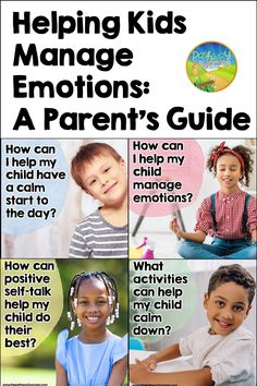 A parent's guide for supporting challenging emotions with children. This page includes guided questions to help parents find their way. How can I help my child manage their emotions? What activities can help calm my child down? Teachers can share with parents too! Social Emotional Learning, Social Skills, Anger Management For Kids, What Activities, Self Talk, Teaching Kids, Parents, Mindfulness, Calm