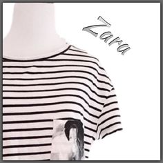 "NWT Zara Striped batwing top ➖NWT  ➖SIZE: medium (see measurements) ➖BRAND: Zara : line - Trafuluc  ➖STYLE: A loose bat winged striped top with a pocket (a real one) that has both a casual look and a ""high fashion"" look if the right accessories are added. ❌NO TRADE  ➖MEASUREMENTS       ➖LENGTH: 21.5""      ➖BUST: 20.5"" Zara Tops Tees - Short Sleeve"