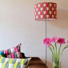 milk bottles - magenta lampshade - Bubble Tree Design Studio