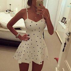 Polka Dot Suspenders Sexy Dress DFG32620YT
