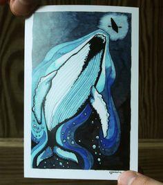 Humpback Whale Underwater Watercolor // art print // Elizabeth Jancewicz