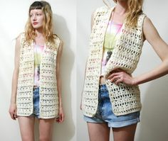 ☩CREAM CROCHET VEST    70s vintage crochet vest / sleeveless cardigan  Cream wool open crochet  Buttonless front  Cute for layering    Label: -  Size