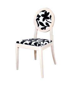 Silla LUIS XVI blanca tapizada con tela estampada. Chair, Decoration, Furniture, Home Decor, White Chairs, Print Fabrics, Dining Room, Games, Wood