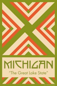 MICHIGAN quilt block. Ready to sew. Single 4x6 block $4.95.