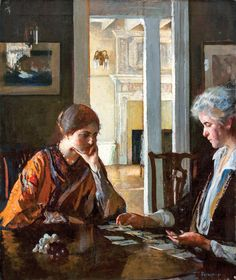 Edmund C. Tarbell (1862–1938) Solitaire, 1927 Oil on canvas, 30 x 24 inches Signed lower right Private Collection