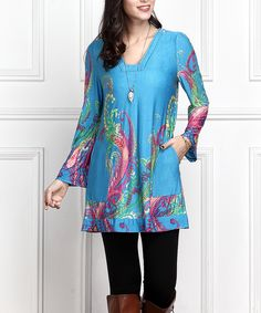 Blue Floral Square Neck Bell-Sleeve Tunic - Plus Too