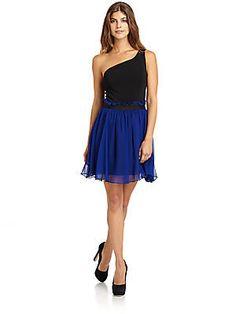 Bcbg Blue Sapphire Jacquard Cocktail Dress