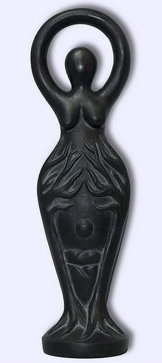 Black Goddess Statue Labyrinth Night Queen 2 Sided Wiccan Pagan Statue #LGB