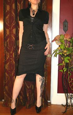 Lip Service Gangsta Pranksta Black Pinstripe Sexy Skirt S