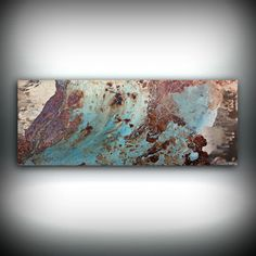 """Copper Coastal Painting 16"""" x 40"""", Acrylic Painting on Canvas, Abstract Painting, Contemporary Art, Large Wall Art, By L Dawning Scott"""