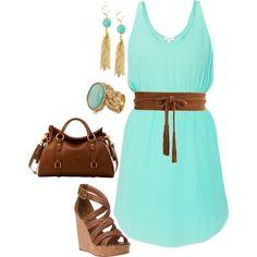 Hermoso atuendo, vestido en turquesa, combinado con dark brown, bolsa, sandalias y accesorios en el tono del vestido. 61