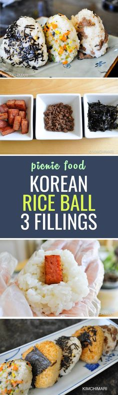 Korean Rice Triangles(삼각주먹밥 Samgak Joomukbap) Easy, pretty rice triangles for packed lunch, picnic and of course a fun meal at home :) You can prepare the fillings beforehand to save time in the morning! K Food, Good Food, Yummy Food, Asia Food, Sushi, Carb Cycling Diet, Japanese Diet, High Carb Foods, Low Carb