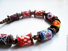 """Купить Бусы """"Узоры"""" - комбинированный, тесьм, Ориентальный, восточный стиль, текстильные бусины"""