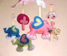 Flying Elephants Mobile made in 100% wool felt £90 from www.morrowlandcreations.co.uk #morrowlandcreations