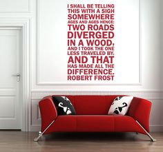 Robert Frost poetry on the wall? yes please :: Vinyl Wall Decal by wordybirdstudios