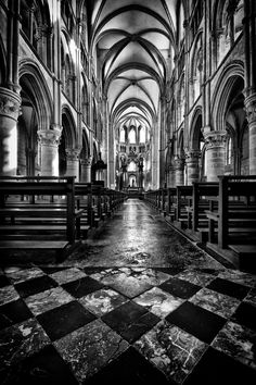 Nave of the abbey church of Mouzon, France