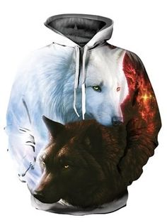 3D Black White Couple Wolfs Pattern Men Sweater Long Sleeve Cool Hoodies