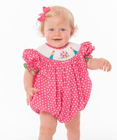Look at this Pink Princess Smocked Bubble Bodysuit - Infant & Toddler on #zulily today!