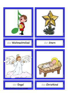 Flashcards_Weihnachten_1 German Language Learning, German Words, Learn German, Xmas, Christmas, Kindergarten, Religion, Projects To Try, Germany