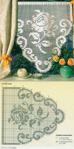 Curtains curtains rugs rugs - also crochet on Stylowi. Filet Crochet Charts, Crochet Doily Patterns, Crochet Borders, Crochet Diagram, Thread Crochet, Crochet Doilies, Crochet Flowers, Crochet Stitches, Knit Crochet