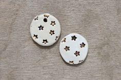 Ceramic pendant, glazed pendant, star pendant, ceramic stars, ceramic disc by BlackRabbitCeramics on Etsy Porcelain Clay, White Porcelain, Ceramic Pendant, Star Pendant, Glaze, Pendants, Ceramics, Beads, Etsy