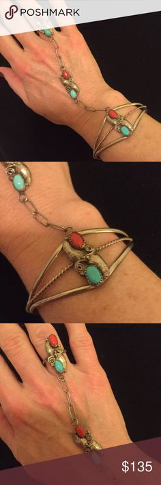 """Navajo """"Slave"""" bracelet. Sterling turquoise coral Navajo Native American sterling Silver Slave bracelet with chain link attached  pendant and ring. Ring is size 7.Bracelet is 2 3/8"""" wide and 5 3/4"""" overall. Jewelry Bracelets"""