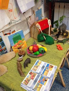 Handa's surprise small world Childcare Environments, Learning Environments, School Displays, Classroom Displays, All About Me Topic, Handas Surprise, Nursery Stories, Funky Fingers, Around The World Food