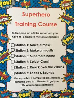 Superhero Training Course – Adventures of a Bookworm Who doesn't want to become a superhero? This training course was simple to prep and really fun for the kids. The attendance we receive was over double of what I expected (thank goodness for … Superhero Games For Kids, Superhero School, Superhero Academy, Superhero Classroom Theme, Superhero Birthday Party, Classroom Themes, Superhero Kindergarten, Vbs Themes, Batman Party