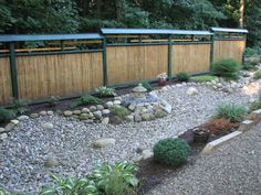 Nice fence and multiple types of gravel
