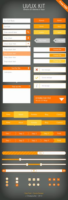 UI Flat design - orange