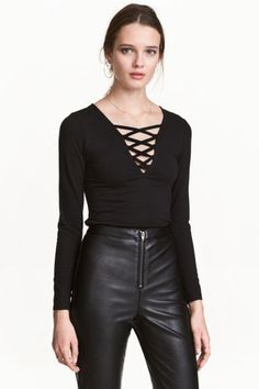 Top with lacing - Black | H&M CA 1