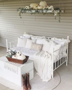 "43 Likes, 10 Comments - Katelyn (@katelynchantelblog) on Instagram: ""I had some fun decorating the back porch & daybed with pumpkins & some new pieces. The past two…"""