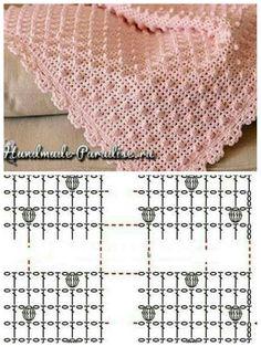 Beautiful Crochet Blanket for Babies [FREE] Crochet Square Patterns, Crochet Stitches Patterns, Crochet Diagram, Crochet Chart, Crochet Basics, Filet Crochet, Crochet Designs, Crochet Bedspread, Baby Afghan Crochet