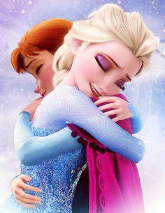 Elsa and Anna hug