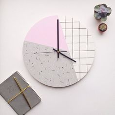 Large wall clock - pastel pink, grey, white. Gifts for her. Memphis inspired, modern, geometric by Show Your Bones