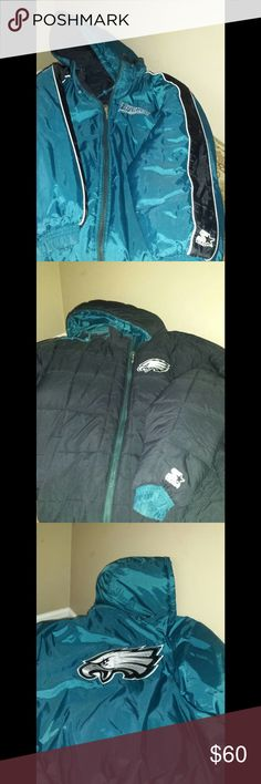 Men's Philadelphia Eagles jacket. Reversible green or black on outside. Detachable hood. Never worn but no tags. Jackets & Coats