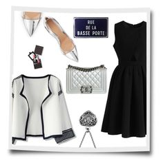 """""""Black & Silver"""" by frenchfriesblackmg ❤ liked on Polyvore featuring Gianvito Rossi, Chicwish, Chanel and Laura Mercier"""