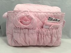 Doll size Diaper Bag in Quilted Pink and White Gingham Check with Soft Pink Cotton Lining and all the goodies by GSRdolls on Etsy