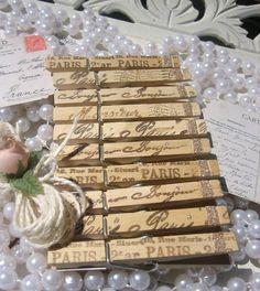 French script clothespins.