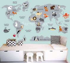 World Map Peel And Stick Poster Sticker Illustration - World map wallpaper decal