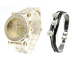 Ceas dama Jessy Nut Gold and Silver cu cristale Swarovski - Crystal Glamour Bracelet Watch, Swarovski Crystals, Glamour, Watches, Bracelets, Silver, Gold, Wrist Watches, Charm Bracelets