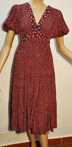 70's Original Vintage Ossie Clark Celia Birtwell Radley Midi Dress #OssieClarkCeliaBirtwellRadley