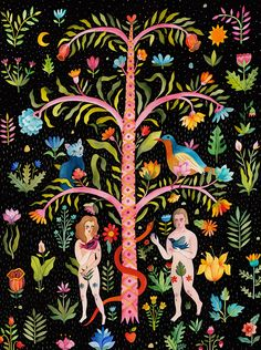 botanical, illustration, folk, modern, mural, wildlife, animals, painterly, pattern, plants, flowers, folk art, romanian, victorian, hertiage, tactile, landscapes, william morris, dreamy, characters, bold, painting, illustrators, people, adam and eve