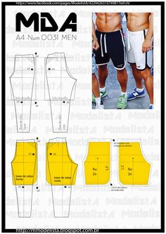 Sewing Men Clothes Men's sport pants and shorts Mens Sewing Patterns, Sewing Men, Sewing Pants, Sewing Clothes, Clothing Patterns, Diy Clothes, Men's Clothing, Fashion Sewing, Diy Fashion