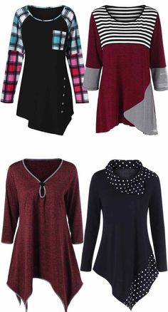 Of July Womens: Asymmetrical Tee - Trend Women Fashion Pretty Outfits, Cool Outfits, Casual Outfits, Fashion Outfits, Womens Fashion, Fashion Clothes, Umgestaltete Shirts, Asymmetrical Tops, Mode Style