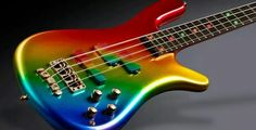 tie-dye bass with gold hardware